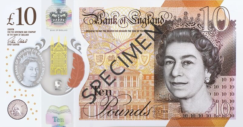Image of £10 Polymer Front Specimen © Bank of England
