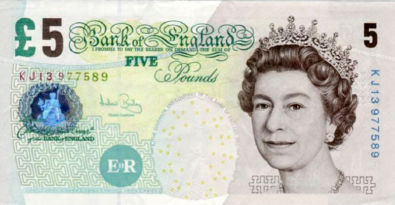 Image of the old £5 npote (Front)